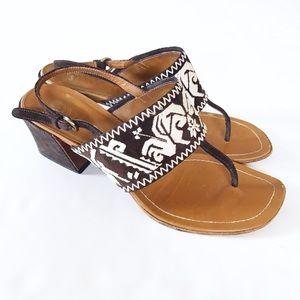 MIU MIU Embroidered Strap & Suede Sandals